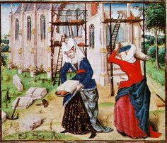 Roman des Girart von Roussillon, Cod. 2449, f. 167v, Flemish, 1447, Österreichishe Nationalbibliothek, Vienna. Women Building