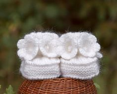 Baby Booties Hand Knitted with Crochet Bell by SasasHandcrafts