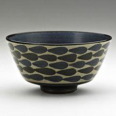 HARRISON McINTOSH (b. 1914); Glazed stoneware rice bowl with stylized leaves, Claremont, CA