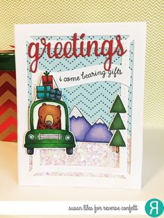 Card by Susan Liles. Reverse Confetti stamp set: Bearing Gifts. Confetti Cuts: Bearing Gifts and Greetings Frame. RC 6x6 paper pad: Warm Heart. Friendship card. Christmas card.