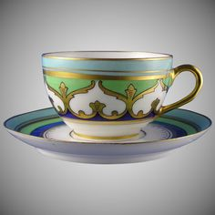 """Limoges """"Mark 6"""" Stouffer Studios Arabesque Motif Cup & Saucer Set (c.1906-1914) - Early 20th Century Porcelain Cup & Saucer w/ Gold Gilt, Teacup Coffee Cup"""