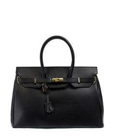 Black leather twist-lock grab bag Sale - MASSIMONI CASTELLI Sale