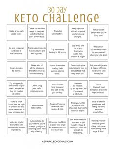 30 Day Ketogenic Challenge Free PDF Printable