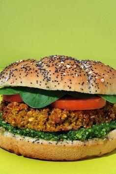 veggie sandwich Veggie Sandwich, Salmon Burgers, Sandwiches, Veggies, Lunch, Fresh, Healthy, Ethnic Recipes, Food