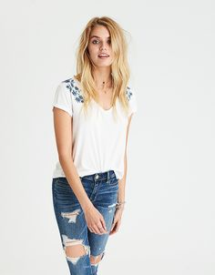 AEO SOFT & SEXY V-NECK FAVORITE T-SHIRT - Natural White