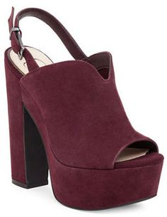 Chunky suede heels that are super comfy. Jessica Simpson Rel Suede Slingback Platform Sandals