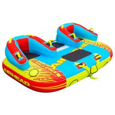 Airhead 1 to 3 Rider Challenger Inflatable Towable Boating Water Sports Tube, Blue/Green/Red Floating Lounge, Floating In Water, Water Tube, Home Sport, Water Sports, Kicks, Sneakers, Group, Boating
