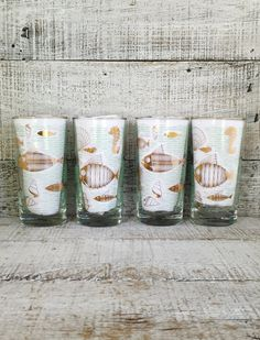 Tumblers Libbey Fish Gold Atomic Glasses Set of 4 Marine Life Glasses Tallboy Glasses Mid Century Cocktail Glasses Vintage Gold Fish Barware by TheDustyOldShack on Etsy