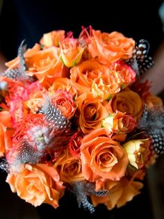 Orange and Gray #Wedding Bouquet Flowers and feathers