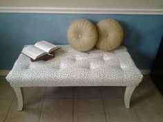 end coffee table makeover upholstered makeover, painted furniture, repurposing upcycling, reupholster, Completed look