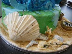 Marine Inspired 50th Birthday Cake 50th Birthday, Birthday Cake, Celebration Cakes, Custom Cakes, Camembert Cheese, Spoon, Inspired, Shower Cakes, Personalized Cakes