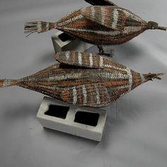 Two Papua New Guinea Sepik basketry birds