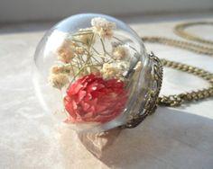 echte Klee Blüten Glasblase Halskette mundgeblasen von AtelierKristallkuss auf DaWanda.com