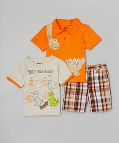 Look what I found on #zulily! Orange Dinosaur Tee See - Toddler #zulilyfinds