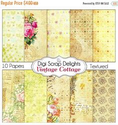 50% OFF TODAY Vintage Bible Journaling Digital Papers, Instant Download Pinks & Yellow Roses for Shabby Chic Digital Scrapbooking, Art Journal #digiscrapdelights #biblejournaling #planner #scrapbooking