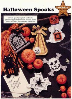 PLASTIC CANVAS PATTERN from Leisure Arts  ***HALLOWEEN SPOOKS***  Condition-- New   These 6 spooky magnets will make ghoulishly great Halloween