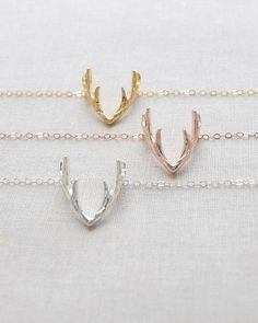 Antler Necklace by Olive Yew. This cute little deer antler is a cute and trendy accessory for any outfit, especially perfect for fall. Available in gold, rose gold and silver on an 17 inch chain.