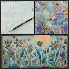 sue Davis, artist from Indiana Kunstjournal Inspiration, Art Journal Inspiration, Painting Inspiration, Painting Collage, Collage Art, Painting & Drawing, Space Painting, Paintings, Arte Pop