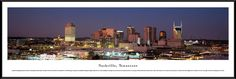 Nashville Skyline Panoramic Picture Framed, Tennessee
