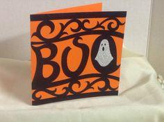 Sparkles Halloween Boo Card , Blank inside , Free Confetti , Ghost , Orange , Black , Kids , Adults , PaperCut by PatchyPeanut on Etsy