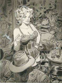 "ugurtardi: "" Chihuahua Pearl in the Western Comic serie Blueberry by Jean Giraud (Moebius). """