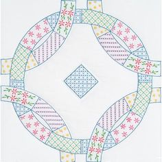 """Jack Dempsey Needle Art Interlocking Patchwork Wedding Rings 18"""" Quilt Squares. Each package contains six - 18 x 18 (cut size) quilt squares of cotton/poly"""