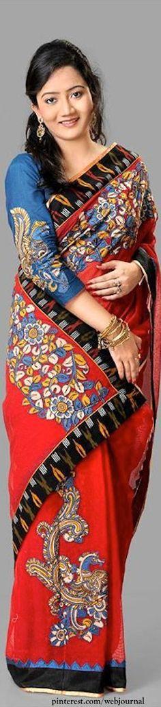 Jute saree with Kalamkari