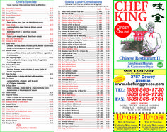 Chef King on Dewey Ave delivers! We have a great menu selection with coupons for your next meal. Try our jumbo shrimp, curry chicken, lobster, pork lo mein, scallops, and sweet and sour chicken. https://www.valpakrochester.com/coupons/restaurant/chef-king-dewey-ave