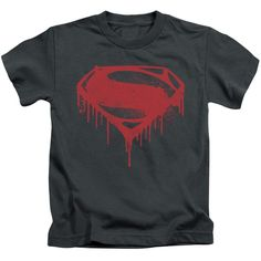 Behold the Batman vs Superman - Splattered Juvy T-Shirt. Now your little  one can be part of the hype with this charcoal colored, officially licensed  juvy ...