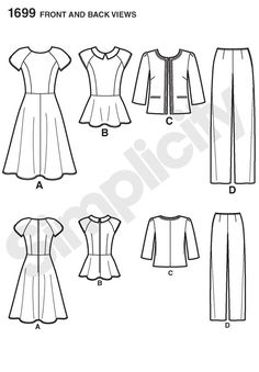 misses' and miss petite fit and flare dress or peplum top has princess-seamed bodice, short raglan sleeves, waistline seam and back zipper. collarless jacket has 3/4 sleeves and braid trim. straight leg pants have side zipper. sew stylish collection.<p> </p>
