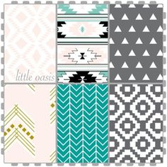 Tribal Crib Bedding Set! Turquoise, Grey, Pink! Create A Nursery You Love…