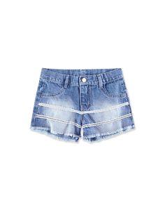 Shorts Jeans Com Renda Infantil Menina Hering Kids