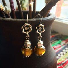 jewelry, bijou, earring Серьги. Фурнитура - античное серебро, бусины - Pandora style (стекло).