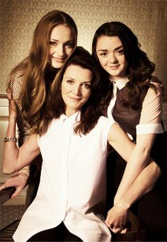 Ladies of House Stark: Sophie Turner, Michelle Fairley, and Maisie Williams #GameOfThrones