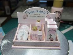 Peter Rabbit children's items in 1:12 scale dollhouse miniature
