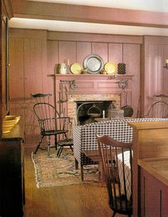 FARMHOUSE – INTERIOR – vintage early american farmhouse showcases raised panel walls, barn wood floor, exposed beamed ceiling, and a simple style for moulding and trim, like in this farmhouse. American Interior, Country Interior, American Decor, Farmhouse Interior, Country Furniture, Country Decor, Country Homes, Country Living, Antique Furniture