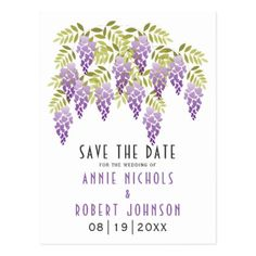 Violet wisteria spring wedding Save the Date Postcard - purple floral style gifts flower flowers diy customize unique