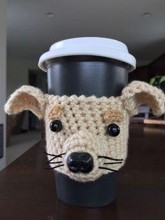 Chihuahua Mug/Cup Cozy, Dog Mug Cozy, Custom Dog Coffee Sleeve… Crochet Coffee Cozy, Coffee Cup Cozy, Crochet Cozy, Hand Crochet, Dog Coffee, Coffee Cup Sleeves, Crochet Kitchen, Mug Rugs, Dog Gifts