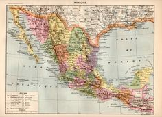 Mexico 1897 Antique Print Vintage Map Old by Craftissimo on Etsy, €14.95