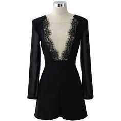 Chicwish Mesh Paneled Lace Trimmed Playsuit (190 RON) ❤ liked on Polyvore featuring jumpsuits, rompers, dresses, shorts, playsuit, black, cutout romper, cocktail jumpsuit, cut out romper and cut out jumpsuit