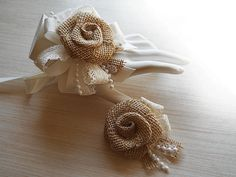Ready to Ship Country Burlap Rose & Lace Wrist Corsage