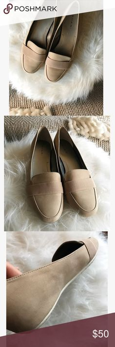 TAHARI leather loafers Leather upper. Style: ADRIAN. Classic loafer in a nude color to match any outfit. A comfortable and stylish closet staple. Worn once; only indication of wear is on the bottoms of the soles. Tahari Shoes Flats & Loafers