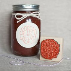 Spread the love! And the jelly and jam! A hand lettered stamp for jelly and jam wedding favors and the DIY brides and grooms!
