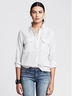 Soft-Wash Tencel Shirt   Banana Republic This is the type of go-to shirt I'm always looking for--white or other colors.