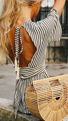 LOVE this olive green striped dress with this bag!
