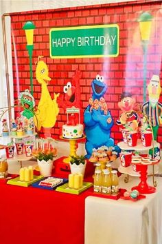 Check out this fun Sesame Street birthday party! The party decorations are fantastic! See more party ideas and share yours at CatchMyParty.com #catchmyparty #partyideas #sesamestreet #sesamestreetparty #boybirthdayparty Dessert Table Backdrop, Dessert Tables, Sesame Street Party, Sesame Street Birthday, Elmo Cake, Cookie Monster Party, Ideas Para Fiestas, 1st Birthdays, Boy Birthday Parties