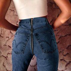 High Waist Zipper Back Denim Jeans