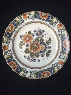 Learned @ A Superb @ Porceleyne Fles Polychrome Delft Plate With A Bird 1930 Pottery & China Delft