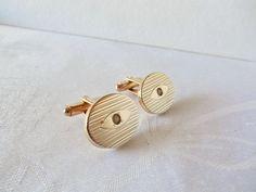 Vintage Goldtone LIned Oval Cufflinks #Unbranded