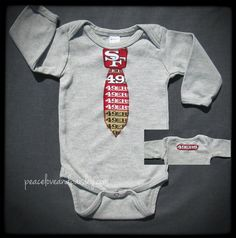 49ers Necktie Bodysuit Made from San Francisco 49ers Fabric, 49ers Baby, 49ers Baby Boy